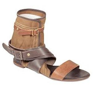 CHLOE Gladiator Buckle Canvas Leather Sandals 36.5